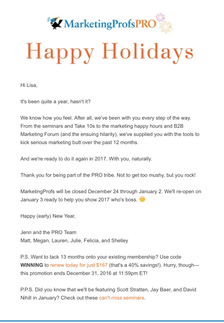 happy holidays emails
