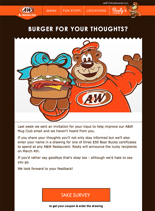 A&W Re-engagement campaign email